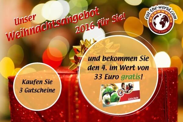 Kulinarischer Weihnachtsgutschein: Bekommen Sie 4 und zahlen nur 3!